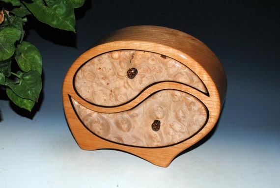 Wooden Jewelry Box - Yin Yang Style in Cherry & Maple Burl - Art in a Jewelry Box- Handmade by BurlWoodBox