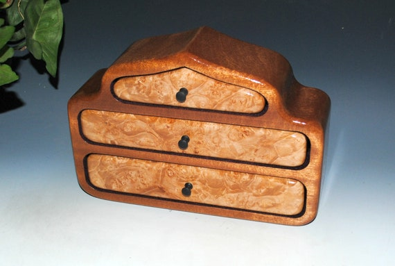Wooden Jewelry Box With Three Drawers of Maple Burl on Mahogany in Our Pagoda Style