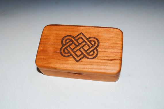 Small Wooden Box With Engraved Celtic Wedding Hearts on Cherry - Food Grade Finish - Handmade by BurlWoodBox - Irish Wedding Hearts