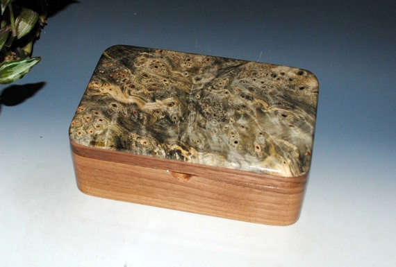 Handmade Wooden Box - Stash Box- Buckeye Burl On Walnut-THE Guy Favorite- Wood Jewelry Box, Wooden Jewelry Box, Small Wood Box, Gift For Men
