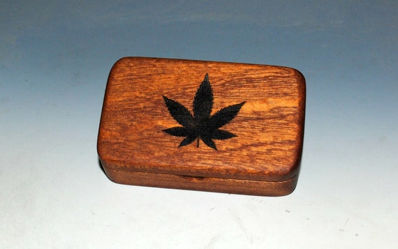 Small Wooden Box With Cannabis Leaf Engraved on Mahogany- Handmade by BurlWoodBox With A Food Grade Finish