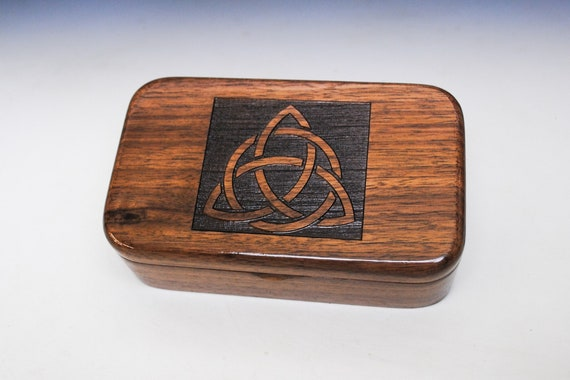 Walnut Treasure Box With Triquetra Engraving - Handmade in the USA by BurlWoodBox - Great Gift !