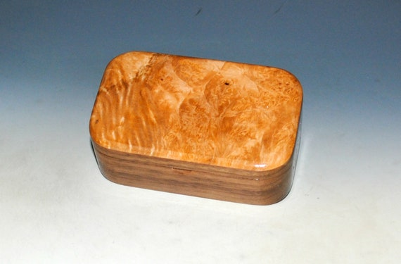 Handmade Wooden Box With Salvaged Walnut and Maple Burl by BurlWoodBox in the USA - Christmas Gift