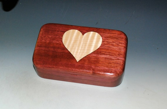 Wood Heart Box of Curly Maple & Purple Heart - Handmade Wooden Treasure Box by BurlWoodBox - Unique Gift !