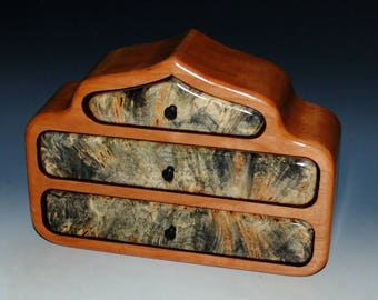 Handmade Wood Jewelry Box- Wooden Jewelry Box of Buckeye Burl & Cherry Pagoda Style-Art Jewelry Box, Jewelry Box, Wooden Box. Jewelry Holder