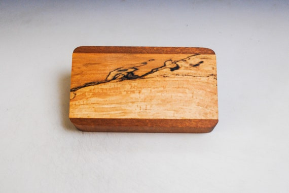 Slide Top Small Wood Box of Mahogany With Spalted Maple - USA Made by BurlWoodBox With a Food Safe Finish