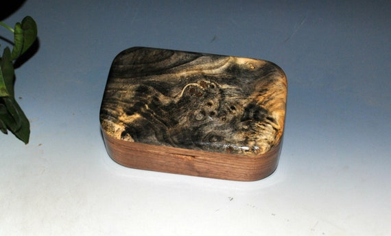 Wooden Trinket Box of Buckeye Burl on Walnut - Handmade  Small Box With Hinged Lid by BurlWoodBox - Boxes Are Great Gifts !