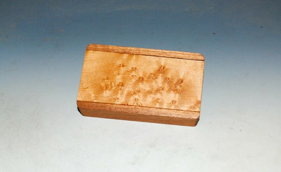 Slide Top Small Wood Box of Mahogany With Birdseye Maple - USA Made by BurlWoodBox With a Food Safe Finish