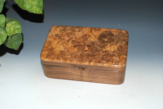 Handmade Wooden Stash Box of Walnut & Maple Burl by BurlWoodBox - A great gift for any occasion !