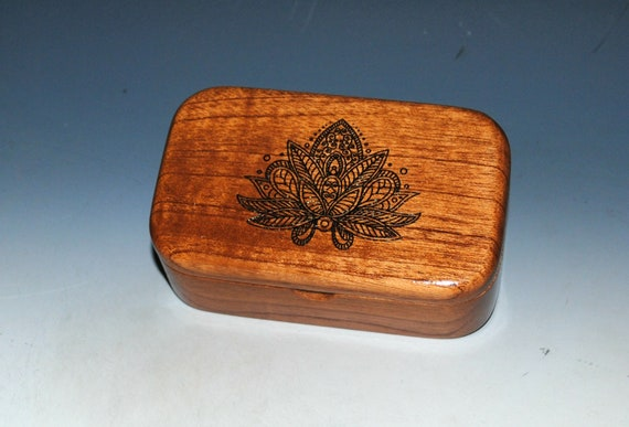 Wooden Box With Lotus Flower Engraving on Mahogany -  Handmade Wood Trinket Box by BurlWoodBox in the USA - Small Gift