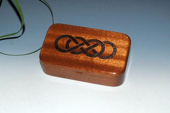 Wooden Treasure Box - Double Infinity Laser Engraved Mahogany  - Gift Box, Desk Box, Jewelry Box, Celtic Knot Box, Jewelry Box, Handmade Box