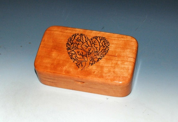 Tree of Life Heart Engraved Wooden Treasure Box of Natural Cherry by BurlWoodBox - A Handmade box with a bit of love and symbolism