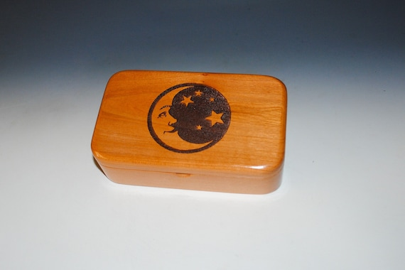 Wooden Box With Moon & Stars Engraving on Cherry- Handmade Wood Treasure Box With Hinged Lid by BurlWoodBox Box - Great Gift !