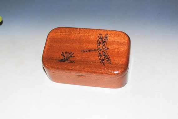 Small Wooden Box With Engraved Dragonfly on Mahogany - Handmade Wood Box With Lid by BurlWoodBox