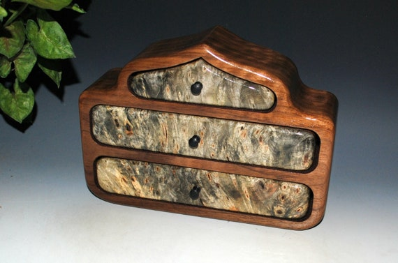 Wooden Jewelry Box - Pagoda Style of Buckeye Burl on Walnut - Handmade Wood Box With Drawers