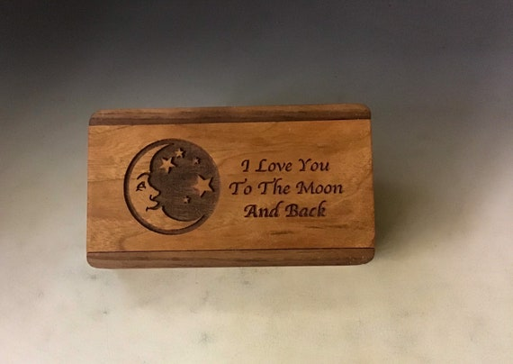 Slide Top Wood Box - Love You to the Moon - Walnut With Cherry Slide - Food Safe Finish