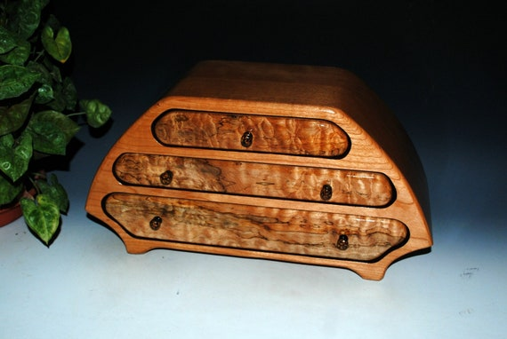 Handmade Wooden Jewelry Box of  Cherry and Quilted Spalted Maple in Our Katie Style -  Large Wood Jewelry Box With Drawers