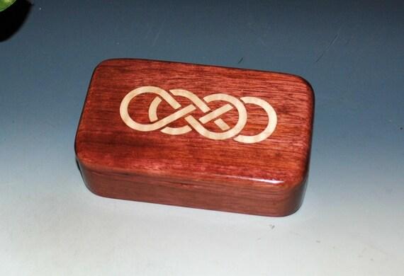 Wood Treasure Box Purple Heart With Inlaid Maple Double Infinity Symbol Handmade by BurlWoodBox - Celtic Knot Box