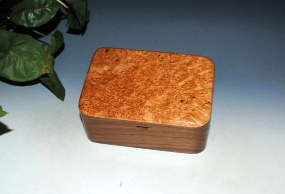 Wooden Box With a Tray of Maple Burl on Walnut - Handmade  in the USA by BurlWoodBox - Perfect for Gifting !