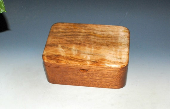 Wooden Box of Mahogany Accented With Spalted Quilted Maple - Handmade Wood Box With Lift Out Tray by BurlWoodBox - Unique Gift !