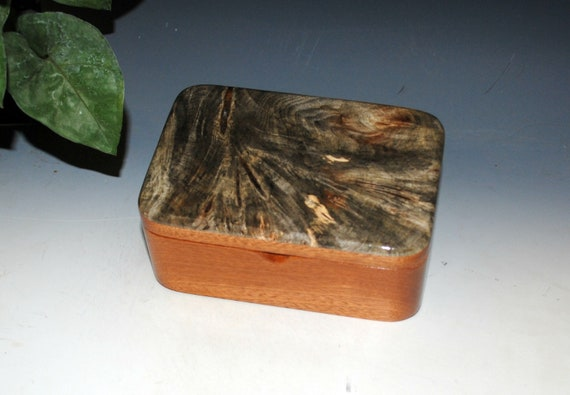 Wooden Box with Tray of Mahogany and Buckeye Burl- Handmade Hinged Box With Lid - USA Made