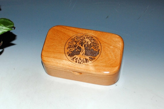 Tree of Life Box - Alder Handmade Wooden Trinket Box, Wood Box - Desk Box - Gift Box, Business Card Box - Engraved Box - Handmade Wood Box