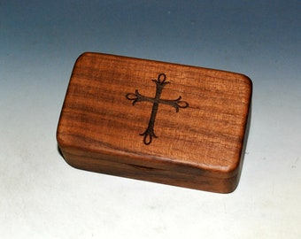 Small Wooden Box With Cross Engraving on Walnut -  Rosary Box - Handmade in USA With Food Grade Finish - Spiritual Gift - Communion Gift