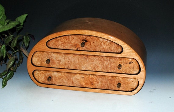 Wooden Jewelry Box of Maple Burl on Cherry in Our Nadia Style - Handmade Large Jewelry Box With Drawers by BurlWoodBox