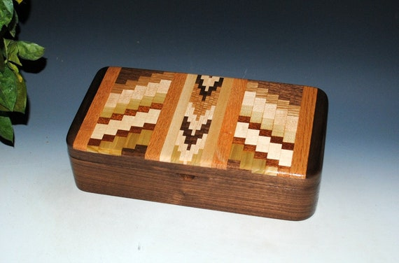 Handmade Wooden Box With Tray- UpCycled Cutting Board and Walnut by BurlWoodBox-Wood Jewelry Box-Stash Box, Wooden Jewelry Box, Handmade Box