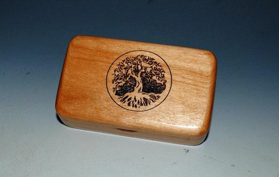 Tree of Life Box - Engraved Alder Handmade Tiny Wood Treasure Box - Gift Box , Wood Jewelry Box, Wood Keepsake Box by BurlWoodBox, Small Box