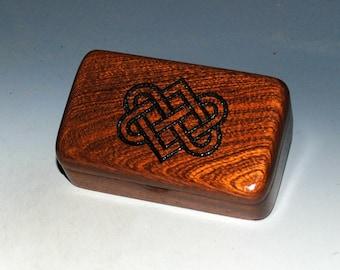 Small Wooden Box With Engraved Celtic Wedding Hearts on Mahogany - Handmade by BurlWoodBox - Irish Wedding Hearts