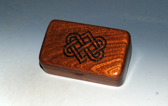 Small Wooden Box With Engraved Celtic Wedding Hearts on Mahogany - Handmade by BurlWoodBox - Irish Wedding Hearts