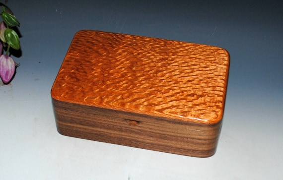 Wood Stash Box, Wood Jewelry Box, Wood Treasure or Desk Box - Lacewood on Walnut - Handmade Wood Box By BurlWoodBox- Wooden Box, Gift Box
