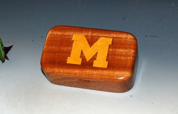 Wooden Box-University of Michigan M Inlaid in Mahogany - U of M, Wolverines, College Box, Handmade Wood Box, Go Blue Fan or Alumni Gift Box