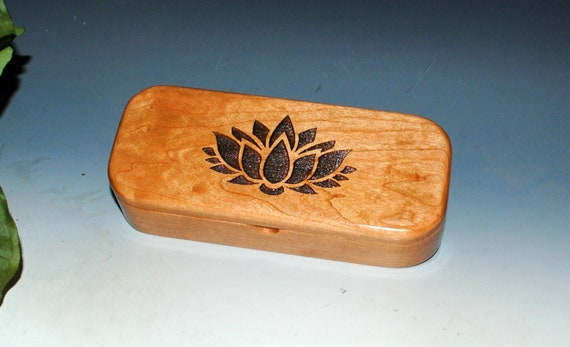 Wooden Box With Engraved Lotus Flower on Cherry - Handmade Wood Pen Box By BurlWoodBox