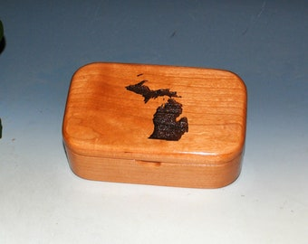 Map of Michigan Engraved Wooden Trinket Box of Cherry - Handmade Small Wood Box by BurlWoodBox - Sale !  No more Art Fairs !