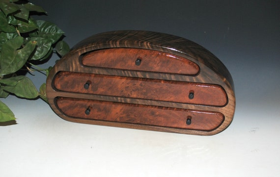 Wooden Jewelry Box of Redwood Burl on Walnut-Burl - Handmade Wood Jewelry Box With Drawers by BurlWoodBox