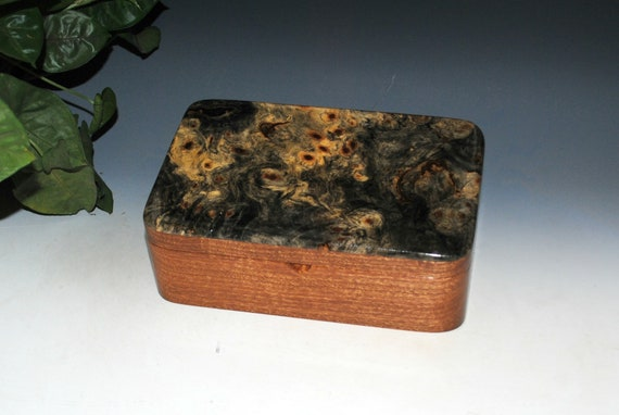 Wooden Box in Mahogany with Buckeye Burl by BurlWoodBox - Handmade Wood Box - Gift !
