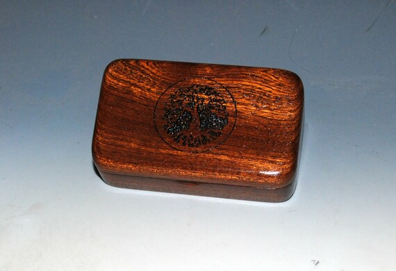 Tree of Life Small Wooden Box of Mahogany - Handmade Engraved Tiny Wood Box