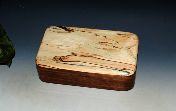 Wooden Box of Spalted Elm on Walnut Handmade in the USA by BurlWoodBox - Unique Wood Gift !