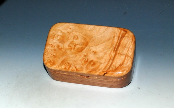 Wooden Trinket Box of Maple Burl on Mahogany -Small Wood Jewelry or Treasure Box Handmade by BurlWoodBox - Hinged Lid Box