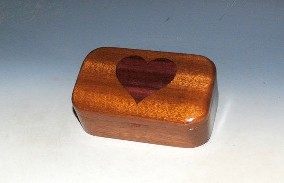 Wooden Heart Box of Mahogany & Purple Heart - Inlay Heart Trinket Box Handmade by BurlWoodBox - Perfect For a Gift, Storage of Small Jewelry