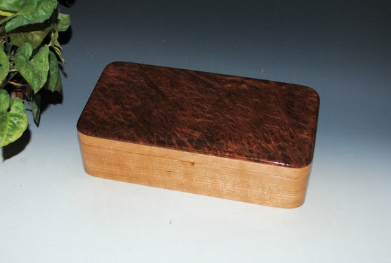 Handmade Wooden Box With a Tray of Redwood Burl on Cherry by BurlWoodBox - For Jewelry or Other Special Treasures - Gift !