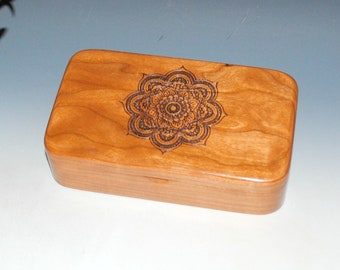 Handmade Wood Box - Cherry With Laser Engraved Mandala - Stash Box, Jewelry Box, Treasure Box, Handmade Wooden Box, Keepsake box, Boxes