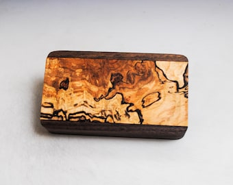 Slide Top Small Wood Box of Walnut With Spalted Maple - USA Made by BurlWoodBox With a Food Safe Finish