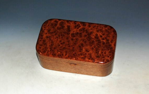 Redwood Burl on Walnut Handmade Wooden Trinket Box - Handmade  by BurlWoodBox in the USA - Gift For a Man