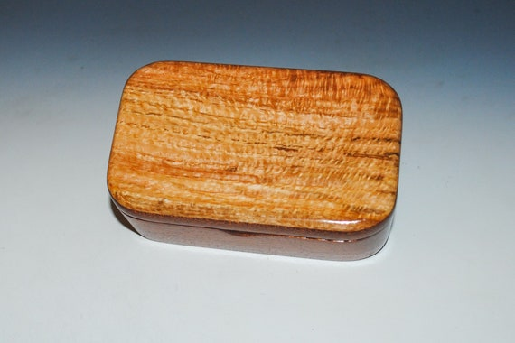 Spalted Red Oak on Mahogany Wooden Trinket Box - Handmade in the USA by BurlWoodBox - Great Gift !