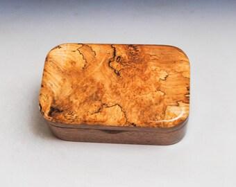 Wooden Trinket Box of Spalted Maple Burl on Mahogany -Small Wood Jewelry or Treasure Box Handmade by BurlWoodBox - Hinged Lid Box