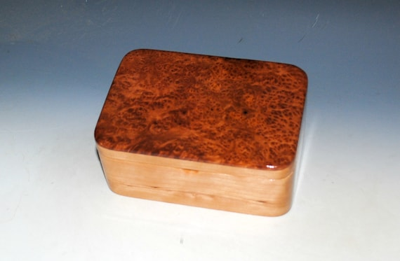 Wooden Box With a Tray of Redwood Burl on Cherry - Handmade Wood Box With Hinged Lid By BurlWoodBox - USA Made Gift !