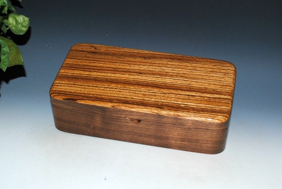 Wooden Box With Tray and Hinged Lid of Zebrawood on Walnut by BurlWoodBox - Great Guy Gift Handmade in the USA